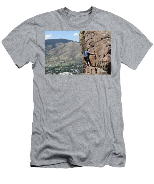 Men's T-Shirt (Slim Fit) featuring the pyrography Golden Climbing by Chris Thomas