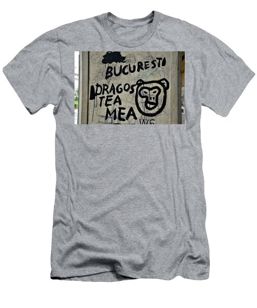 Men's T-Shirt (Slim Fit) featuring the photograph Graffiti On Street From Bucharest Romania by Imran Ahmed
