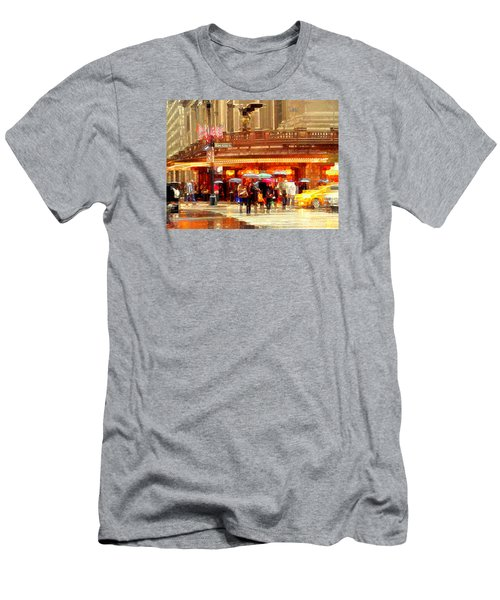 Grand Central Station In The Rain - New York Men's T-Shirt (Slim Fit) by Miriam Danar