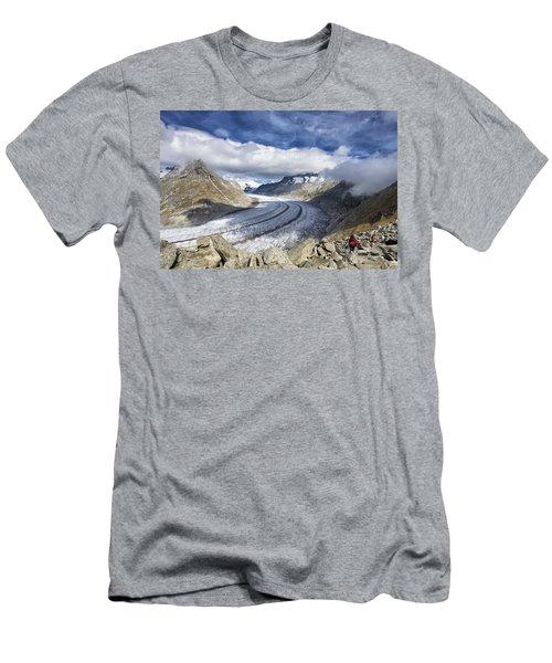 Great Aletsch Glacier Swiss Alps Switzerland Europe Men's T-Shirt (Slim Fit) by Matthias Hauser