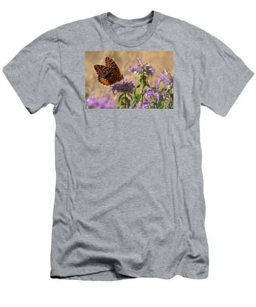 Great Spangled On Bee Balm Men's T-Shirt (Slim Fit) by Shelly Gunderson
