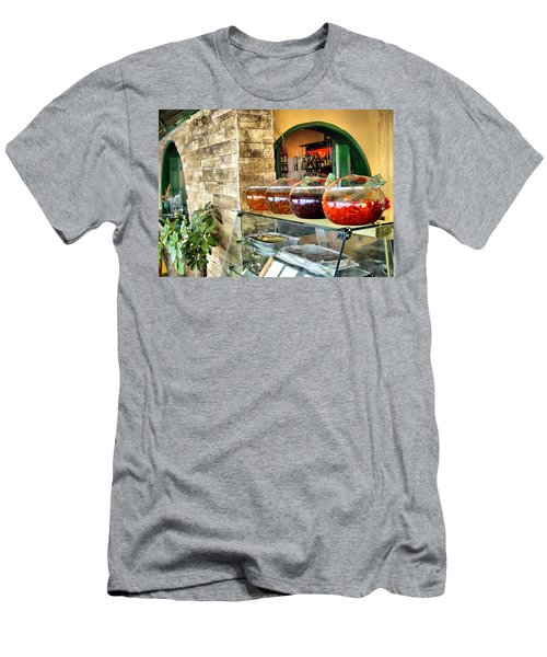Greek Isle Restaurant Still Life Men's T-Shirt (Athletic Fit)