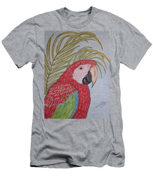Green Winged Macaw Men's T-Shirt (Slim Fit) by Kathy Marrs Chandler