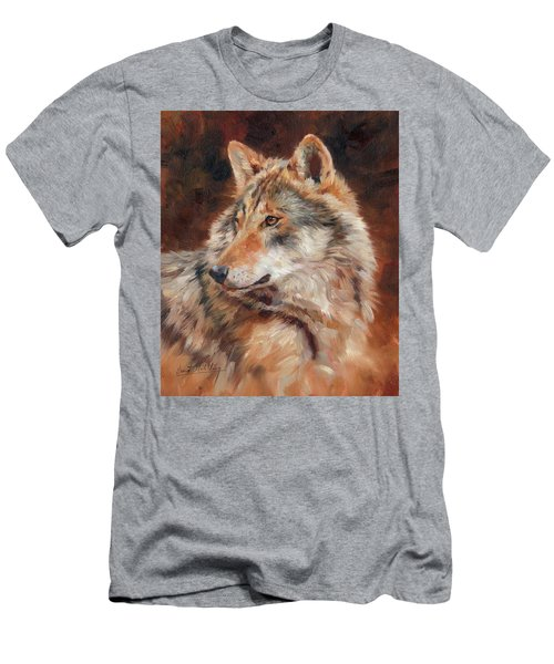 Grey Wolf Portrait Men's T-Shirt (Athletic Fit)
