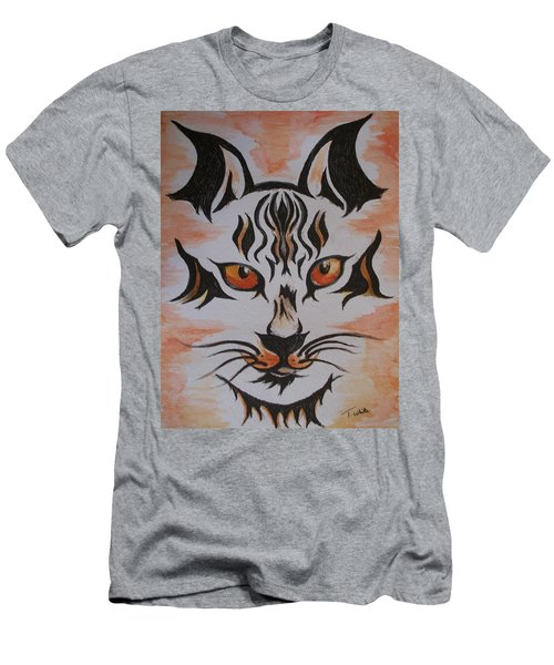 Men's T-Shirt (Slim Fit) featuring the painting Halloween Wild Cat by Teresa White