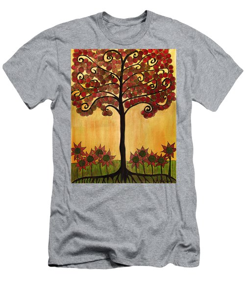 Happy Tree In Red Men's T-Shirt (Athletic Fit)