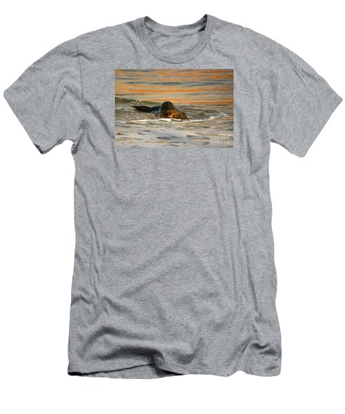 Men's T-Shirt (Slim Fit) featuring the photograph La Jolla Seal Sunset by John F Tsumas