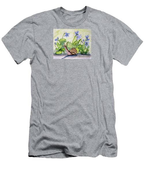 Men's T-Shirt (Slim Fit) featuring the painting Harold In The Violets by Angela Davies
