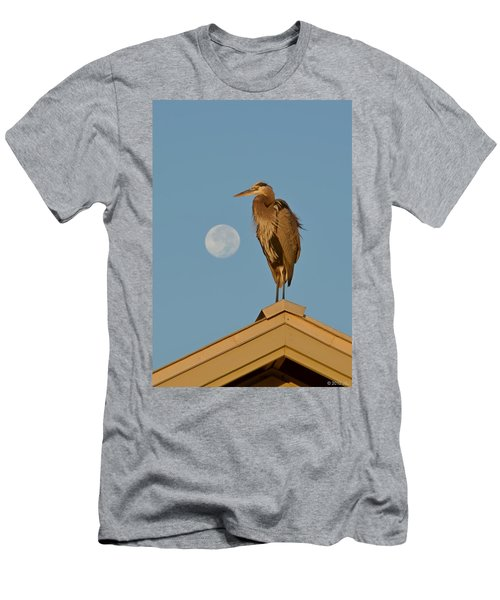Harry The Heron Ponders A Trip To The Full Moon Men's T-Shirt (Slim Fit) by Jeff at JSJ Photography
