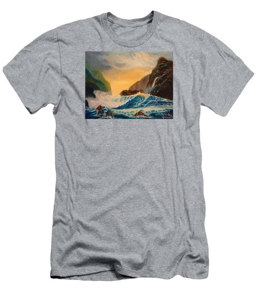 Men's T-Shirt (Slim Fit) featuring the painting Hawaiian Turquoise Sunset   Copyright by Jenny Lee