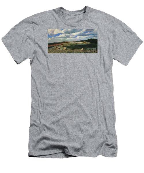 Hayrolls On Swirl Field In Latrobe By Christopher Shellhammer Men's T-Shirt (Athletic Fit)