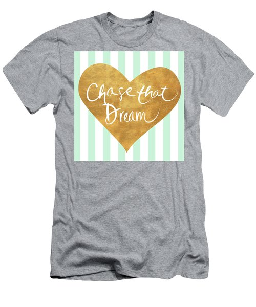 Heart On Mint Stripes II Men's T-Shirt (Athletic Fit)
