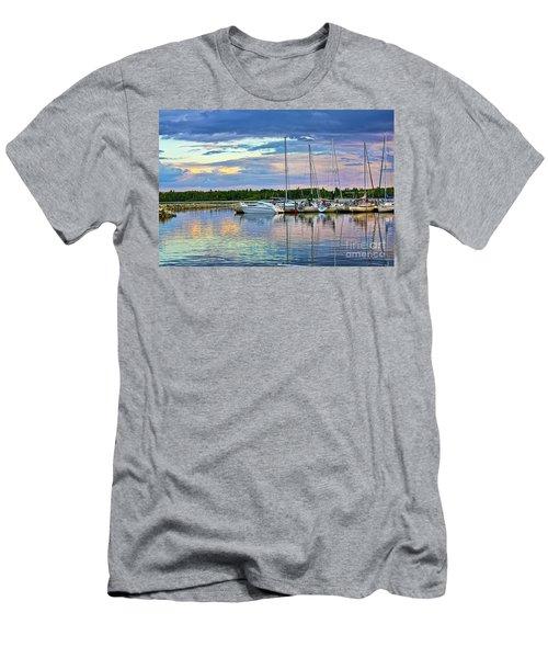 Men's T-Shirt (Slim Fit) featuring the photograph Hecla Island Boats II by Teresa Zieba