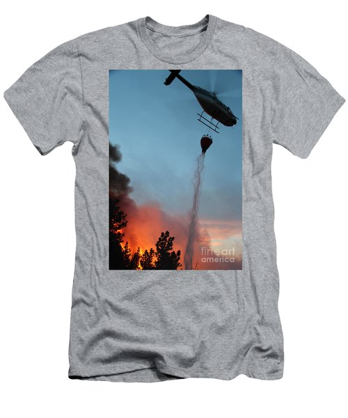 Helicopter Drops Water On White Draw Fire Men's T-Shirt (Athletic Fit)