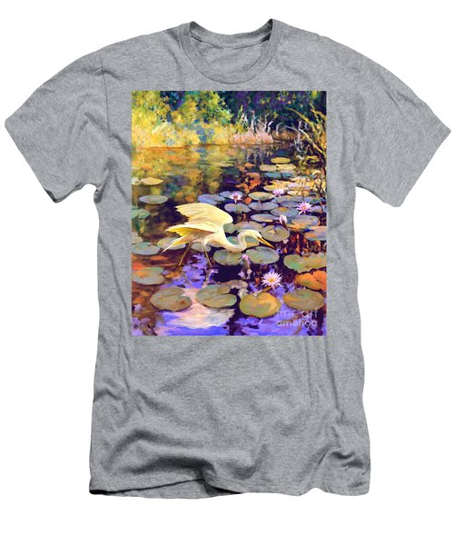 Heron In Lily Pond Men's T-Shirt (Slim Fit) by David  Van Hulst