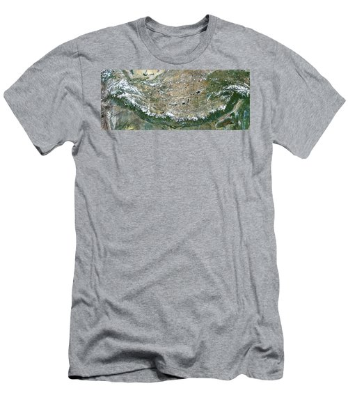 Himalaya Mountains Asia True Colour Satellite Image  Men's T-Shirt (Athletic Fit)