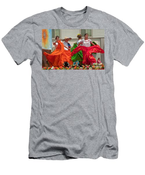 Hispanic Women Dancing In Colorful Skirts Art Prints Men's T-Shirt (Athletic Fit)