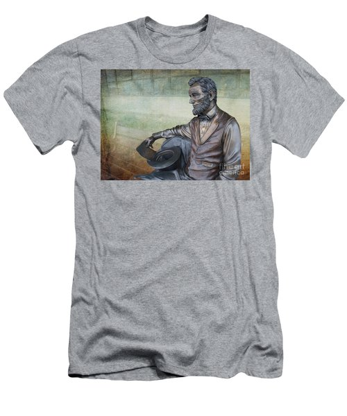 History - Abraham Lincoln Contemplates -  Luther Fine Art Men's T-Shirt (Slim Fit) by Luther Fine Art