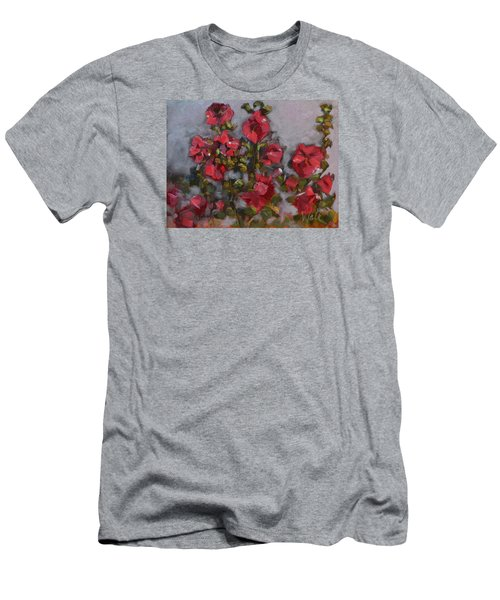 Men's T-Shirt (Slim Fit) featuring the painting Hollyhocks by Pattie Wall