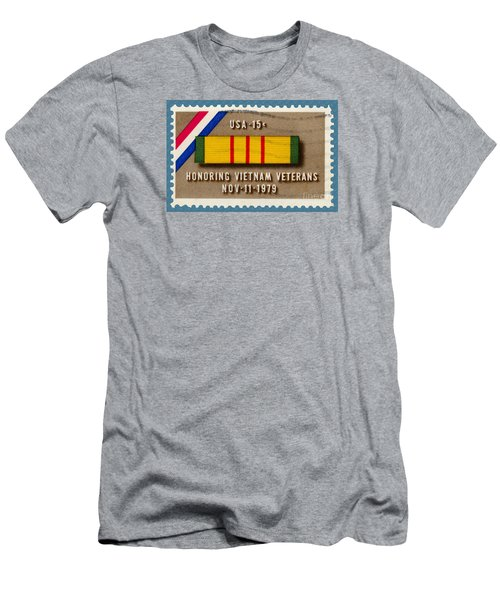 Honoring Vietnam Veterans Service Medal Postage Stamp Men's T-Shirt (Slim Fit) by Phil Cardamone