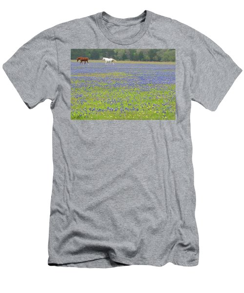 Horses Running In Field Of Bluebonnets Men's T-Shirt (Slim Fit) by Connie Fox