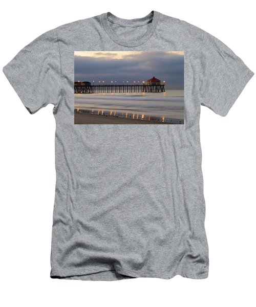 Huntington Beach Pier Morning Lights Men's T-Shirt (Slim Fit) by Duncan Selby