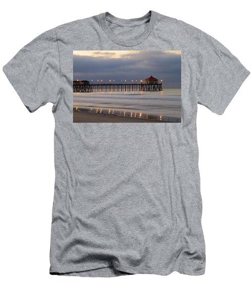 Huntington Beach Pier Morning Lights Men's T-Shirt (Athletic Fit)