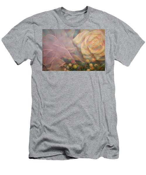 Men's T-Shirt (Slim Fit) featuring the photograph Impressionistic Pink Rose With Ribbon by Dora Sofia Caputo Photographic Art and Design