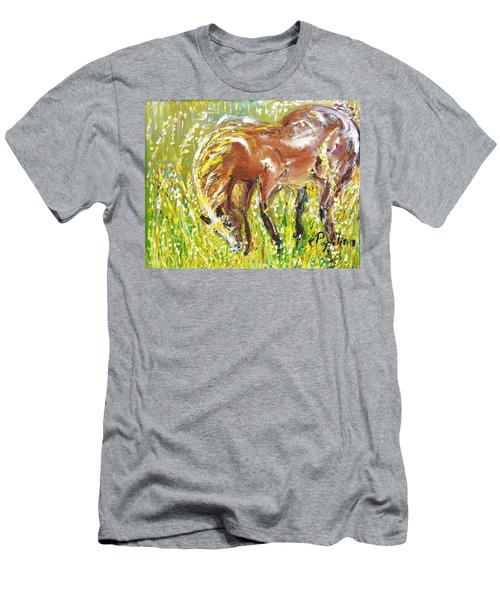 Men's T-Shirt (Slim Fit) featuring the painting In The Field by Evelina Popilian