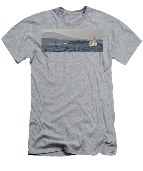 Men's T-Shirt (Slim Fit) featuring the photograph Indian Island Lighthouse - Rockport - Maine by Marty Saccone