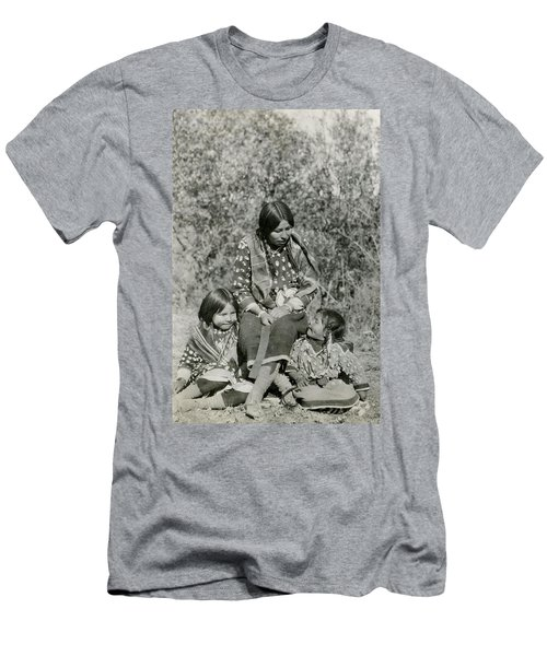 Men's T-Shirt (Slim Fit) featuring the photograph Indian Mother With Daughters by Charles Beeler