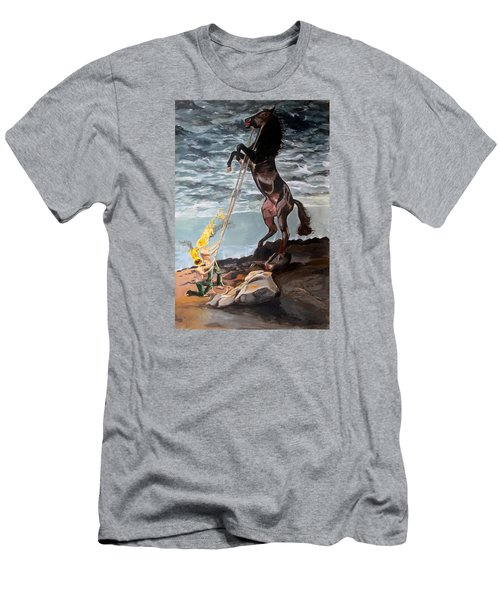 Men's T-Shirt (Slim Fit) featuring the painting Indomitable Listen With Music Of The Description Box by Lazaro Hurtado