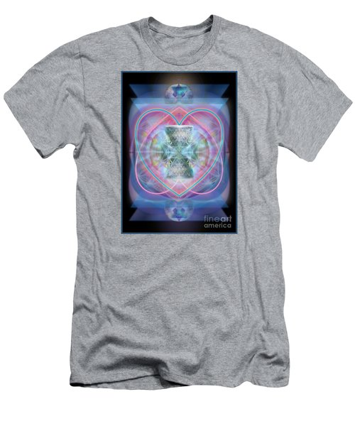 Men's T-Shirt (Slim Fit) featuring the digital art Intwined Hearts Chalice Wings Of Vortexes Radiant Deep Synthesis by Christopher Pringer