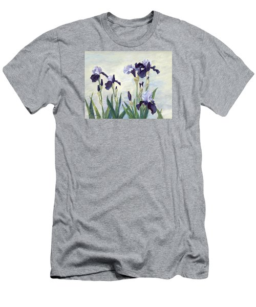 Irises Purple Flowers Painting Floral K. Joann Russell                                           Men's T-Shirt (Athletic Fit)
