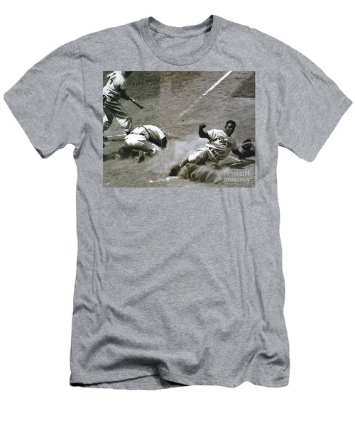 Jackie Robinson Sliding Home Men's T-Shirt (Athletic Fit)