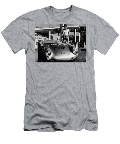 James Dean Filling His Spyder With Gas In Black And White Men's T-Shirt (Slim Fit) by Doc Braham