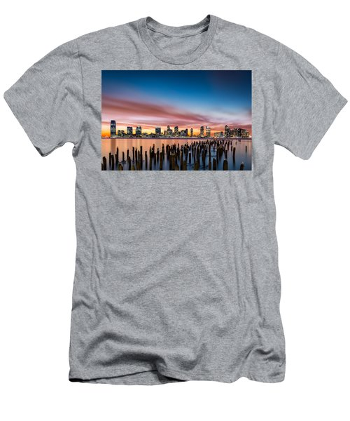 Jersey City Skyline At Sunset Men's T-Shirt (Athletic Fit)