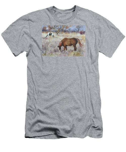 Men's T-Shirt (Slim Fit) featuring the painting Jill's Horses On A November Day by Anne Gifford