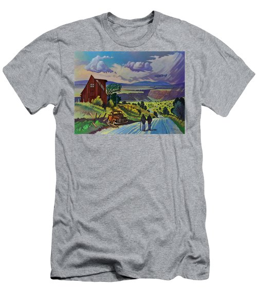 Men's T-Shirt (Slim Fit) featuring the painting Journey Along The Road To Infinity by Art James West