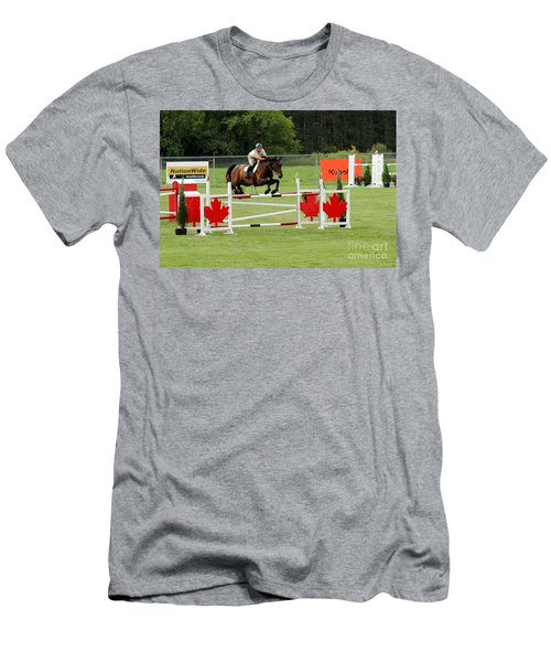 Jumping Canadian Fence Men's T-Shirt (Athletic Fit)