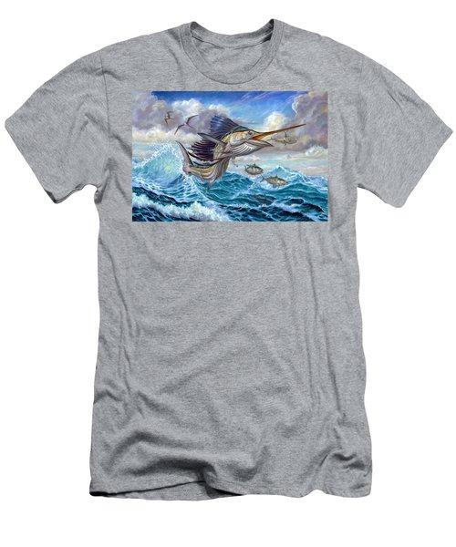 Jumping Sailfish And Small Fish Men's T-Shirt (Athletic Fit)