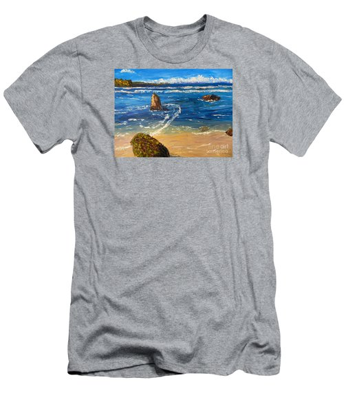 Men's T-Shirt (Slim Fit) featuring the painting Kiama Beach by Pamela  Meredith