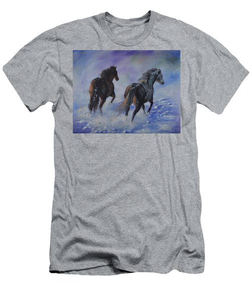 Kicking Up Snow Men's T-Shirt (Athletic Fit)