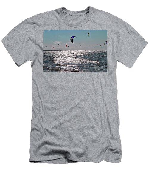 Men's T-Shirt (Slim Fit) featuring the photograph Kitesurfing by Maja Sokolowska
