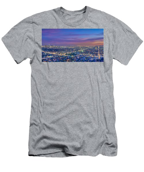 La Fiery Sunset Cityscape Skyline Men's T-Shirt (Athletic Fit)