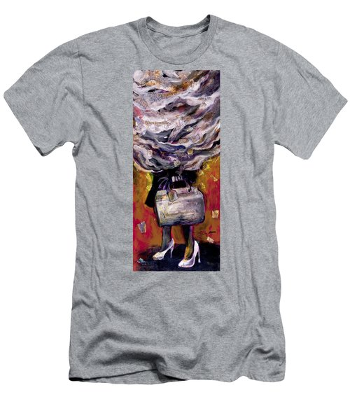 Lady With Suitcase And Storm Cloud Men's T-Shirt (Athletic Fit)