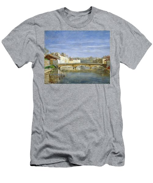 Landscape Oil On Canvas Men's T-Shirt (Athletic Fit)