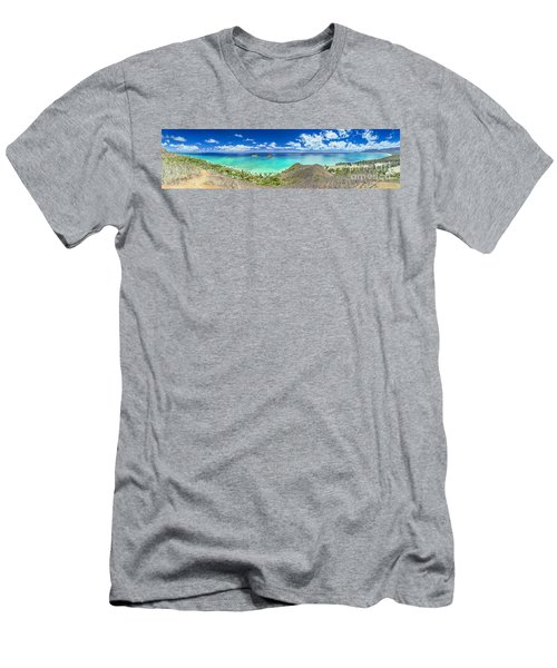 Lanikai Bellows And Waimanalo Beaches Panorama Men's T-Shirt (Slim Fit) by Aloha Art