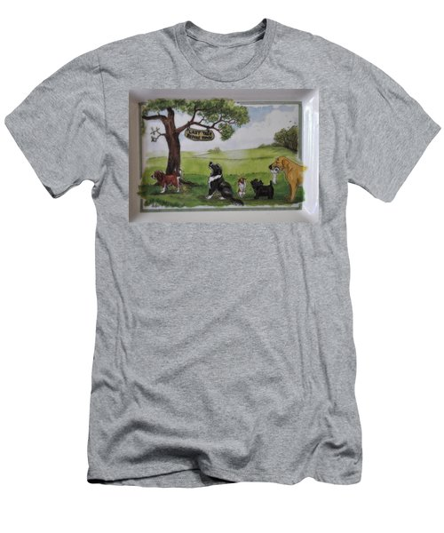 Last Tree Dogs Waiting In Line Men's T-Shirt (Slim Fit) by Jay Milo