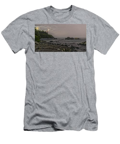 Men's T-Shirt (Slim Fit) featuring the photograph Late Afternoon Sun On West Quoddy Head Lighthouse by Marty Saccone